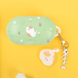 고양이 냥 냥이 패턴 하드 갤럭시 버즈 버즈플러스 케이스+키링