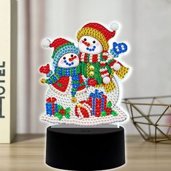 눈사람 커플 DIY 비즈 십자수 무드등 어린이 보석십자수