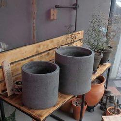 2개셋트.시멘트 화분 진그레이 원통형 25x25/30x30c