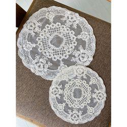 원형 플라워 레이스 매트 테이블 티 코스터 컵 받침 식탁 깔개