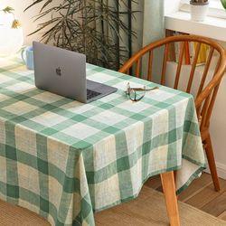 딜라이트 체크 테이블 클로스 애플그린 2인용