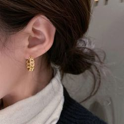 카넨 큐빅 골드 체인 레이어드 패션 여성 귀걸이