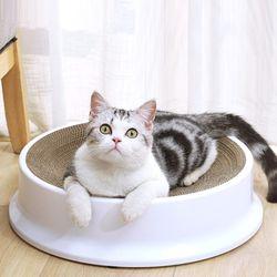 화이트 라운드 스크래쳐 고양이용품