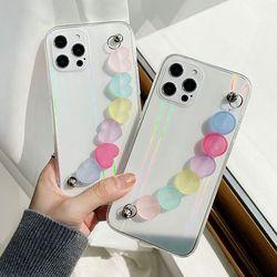 아이폰12 11 XR SE2 X 8 레인보우 스트랩 투명 케이스