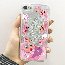핑크팬더 패턴 글리터케이스 갤럭시S21 울트라