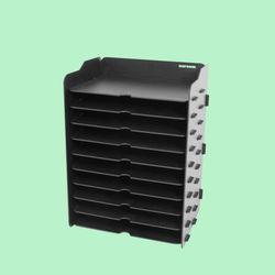 브론즈하우스 TWD-013 DIY 블랙 서류 가로 수납함 10단