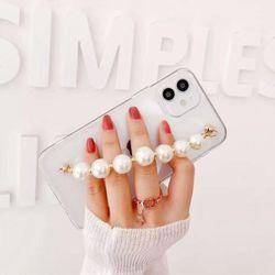 아이폰12 11 XR SE2 X 8 7 왕진주 스트랩 투명 케이스