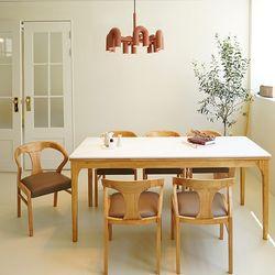 마루이 보나페티 내추럴 통 세라믹 6인원목 식탁세트 의자형