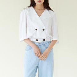 PINTUCK POINT DOUBLE JACKET WHITE