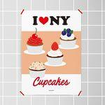 뉴욕 컵 케이크 M 유니크 디자인 포스터 카페 A3(중형)