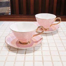 티로직 디어 캐서린 2인 컵앤소서 도트(핑크)