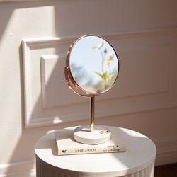 마블 대리석 360도 회전 골드 스탠드 양면 거울 탁상 화장대