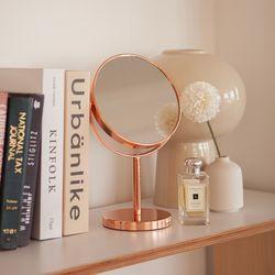 로즈골드 360도 회전 탁상용 양면 원형 거울