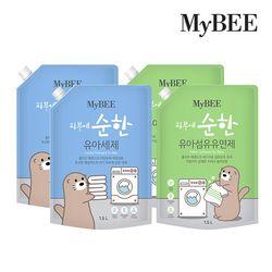 마이비 피부에순한 유아세제 리필(1500ml)x2+유연제(1500ml)x2