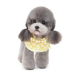체크리본 넥카라 강아지옷