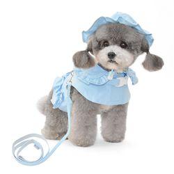 꽃잎카라 강아지 하네스 모자(하네스 별도구매)