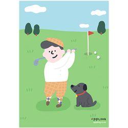 2장세트 패밀리 가족 골프  스포츠 그림 인테리어 포스터 (A3)