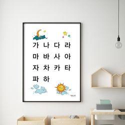 어린이 유아 아기방 학습 한글 벽보 포스터 가나다라마바사 (A2)