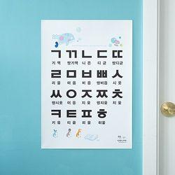 어린이 학습 한글 벽보 포스터 자음 ㄱㄴㄷㄹ 기억니은 (A2)