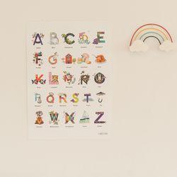 어린이 학습 영어 알파벳 벽보 포스터 알파벳 일러스트 (A2)