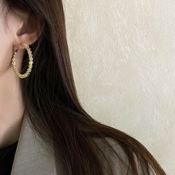 샬던 여성 라운드 골드 레이어드 패션 귀걸이
