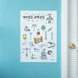 어린이 학습 벽보 포스터 유아 아이방 과학 실험 (A2)
