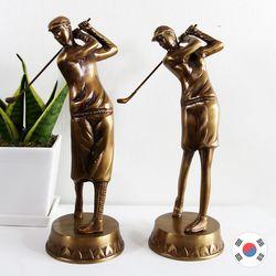 남녀 골프세트 조각상 동공예 장식품 STD-523
