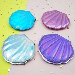 홀로그램 접이식 손거울 조개 모양 손거울 양면거울