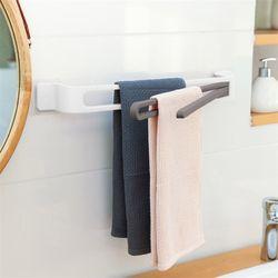 주방 욕실 회전 3단 수건걸이(화이트)