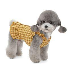 강아지 옷 체크리본 강아지 원피스