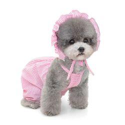 강아지 옷 체크나시 강아지 올인원(모자)