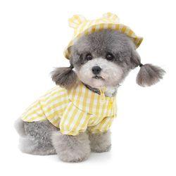 강아지 옷 체크노랑오리 강아지 셔츠(모자)