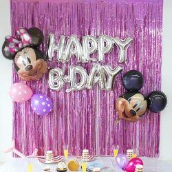 생일 파티 홀로그램 은박 커튼 9color