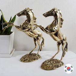 황금 말 2마리 세트 조각상 동공예 장식품 STD-522