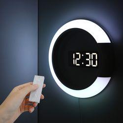 무아스 듀얼 미러클락 무드등 무소음 LED 벽시계