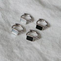 사각 자개 오닉스 실버 원터치 미니 링귀걸이 (2color)