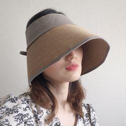 넓은챙 라피아 린넨 와이어 뒷리본 UV차단 썬캡 모자 (2color)