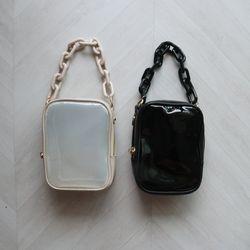 체인 투명 PVC 에나멜 사각 지퍼 미니 숄더백 (2color)