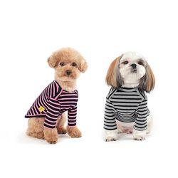 WEFAM 스트라이프 티셔츠 핑크+그레이 SET