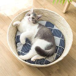 코튼 바스켓 방석포함 고양이용품