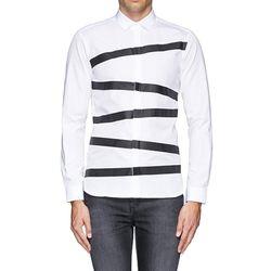 닐바렛 셔츠 블랙 테이핑 슬림 셔츠 화이트 BCM378V S