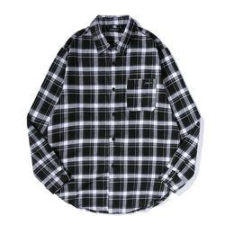 .올라온 Check Shirt - Black 긴팔티셔츠