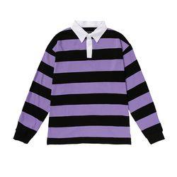 .올라온 Stripe Collar Shirts - A_17 - Purple/Black