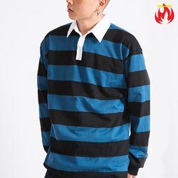 Stripe collar Hellvn Longsleeve Shirts - A_17 - Bl