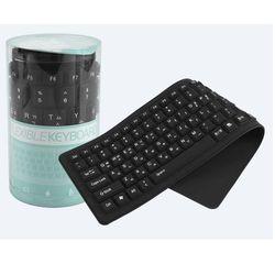 컴스 키보드 실리콘 롤 USB 인터페이스 방수 블랙
