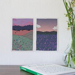 꽃들판 일러스트 엽서 . 인테리어 엽서 (RM 346001 4종 세트)
