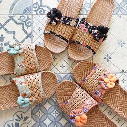 코사지 여름 라탄 슬리퍼 3colors