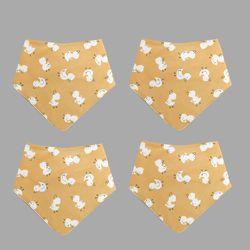 꿈두부 오리의나들이 패턴 삼각스카프 4개세트 유아 스카프빕