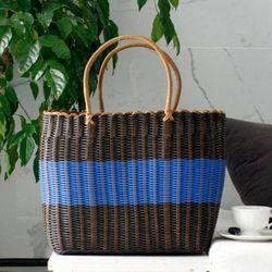 라탄 와이어 빨대 가방 (수영장가방비치백물놀이가방) - 블루