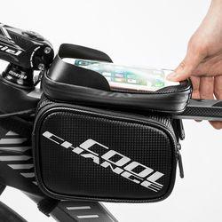 CoolChange 방수 카본디자인 자전거 더블스마트폰가방